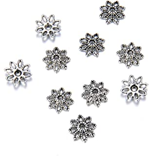 800pcs 8-Petal Leather Flower Floral Bead Caps 10mm Antique Silver Tone for for Necklace Bracelet Earrings Keychain Jewelr...