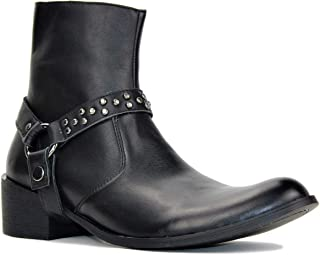 Suetar Men's Fashion Designer High-top Western Heel Leather Dress Boots JH-8713