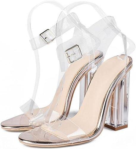 Chaussures Transparentes Pompe Bretelles Cheville Chaussures Romaines Charhommetes Chaussures à Talons Hauts Chaussures à Pois En Cristal Pour Femmes