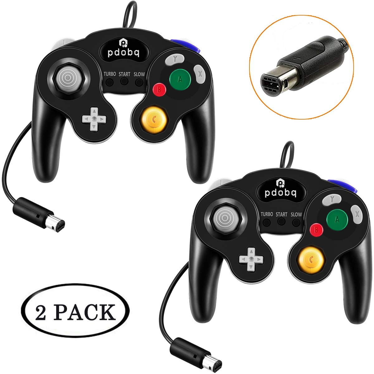 Gamecube Controller, 2 unidades de cable clásico compatible con Nintendo Gamecube Controller para Wii U, PC, Switch, WII, Super Smash Bros Ultimate Nintendo Switch Controller (negro + blanco): Amazon.es: Electrónica