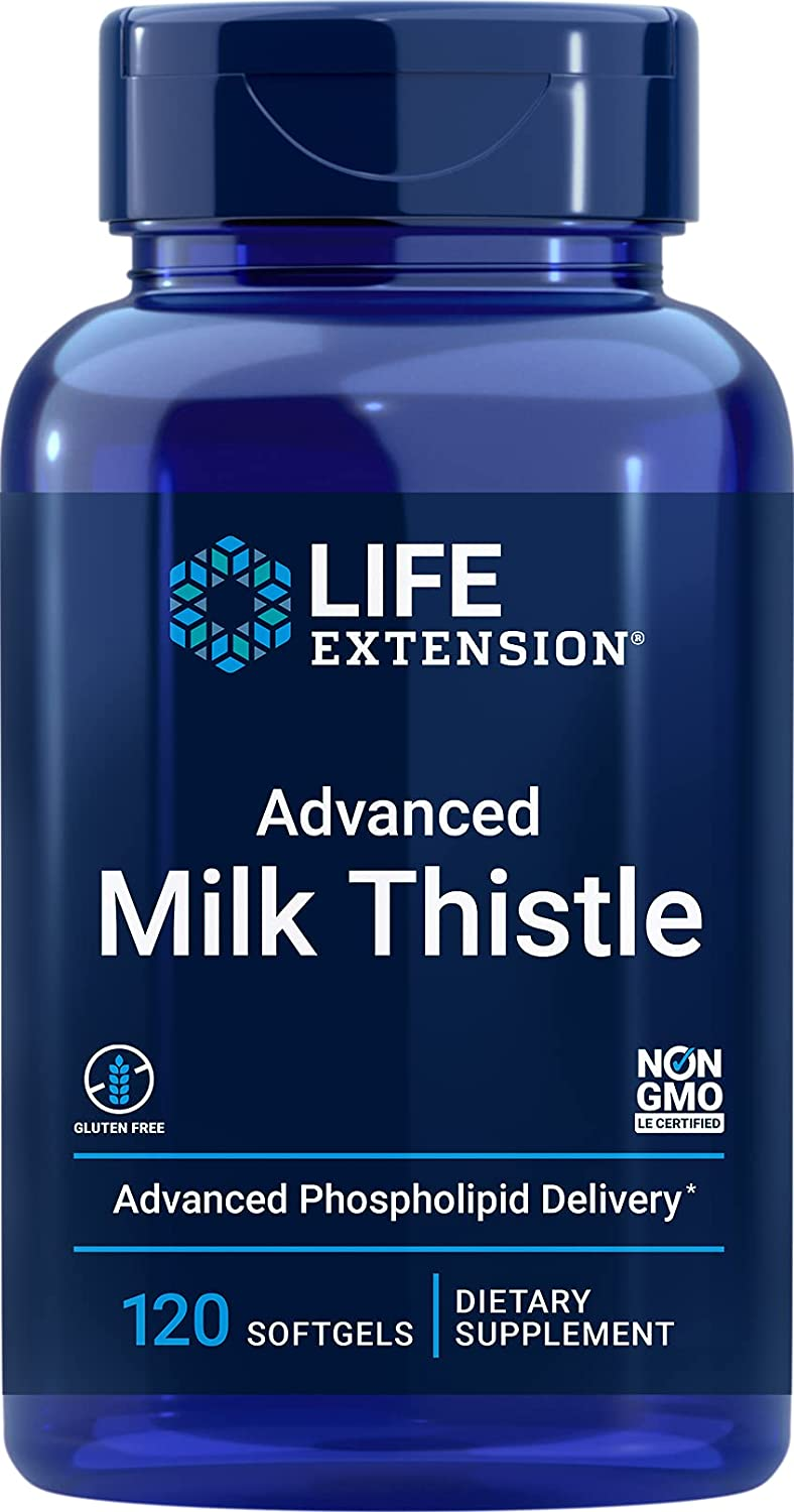 Life Extension Advanced Milk Thistle Formula Provides Powerful Compounds to Deliver Full-Spectrum Support for Optimal Liver Health & Function - Non-GMO, Gluten-Free - 120 Softgels