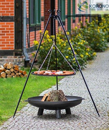 2 in 1 Korono Schwenk Grill 180cm Dreibein Rost 70cm & Feuerschale 80cm mit Loch - Stilvolle Beleuchtung & mobiler Grill