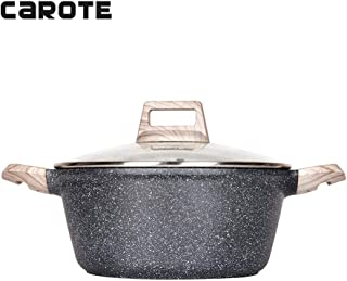 Carote 6 Quart Casserole Dish with Lid, Nonstick Cast Aluminum Dutch Oven, Stockpot with Glass Cover…
