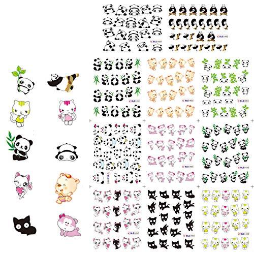 KADS ネイル水転写シール 4枚入り 猫 犬 パンダ フクロウ ネイルステッカー マニキュア転写ステッカー ネイル飾り (セット3)