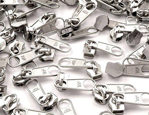 Schnoschi 15 Zipper Silber passend für endlos Reißverschluss mit 5 mm Laufschiene