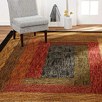 "Home Dynamix Royalty Vega Modern Geometric Area Rug, Black/Brown/Red, 6'5""x9'5"" Rectangle"