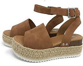 Sandalias Mujer Verano 2020,Pulchram Cáñamo Fondo Grueso Sandalias Punta Abierta Cuero Fondo Plano Zapatos Bohemias Romana...