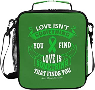 Insulated Lunch Box with Liver Cancer Awareness Quote Print, Lunch Bag for School Office