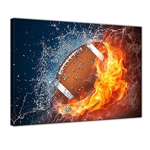Bilderdepot24 Bild auf Leinwand | Football - Feuer und EIS in 70x50 cm als Wandbild | Wand-deko Dekoration Wohnung modern Bilder | 200916