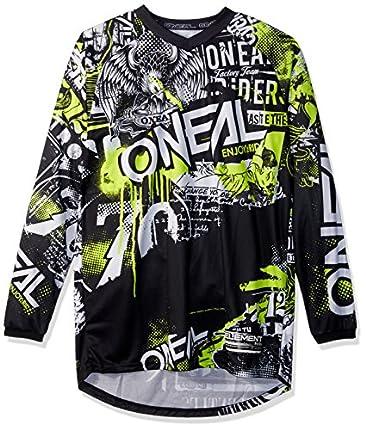 O'Neal | Jersey de Motocicleta | Enduro Motocross | Ajuste para una máxima Libertad de Movimiento, Protección para los Codos Cosida | Jersey Element Attack | Adultos | Negro Amarillo Neón | Talla S