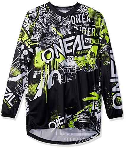 O'NEAL | Motocross-Shirt Langarm | MX MTB Mountainbike | Passform für Maximale Bewegungsfreiheit, Eingenähter Ellbogenschutz | Jersey Element Attack | Erwachsene | Schwarz Neon-Gelb | Größe L