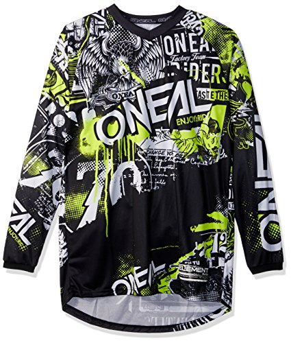 O'Neal 0008-805 Unisex-Adult Element Attack Jersey (Black/Hi-Viz, X-Large)
