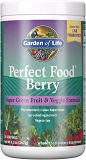 Garden of Life Perfect Food Berry Super Green Fruit & Veggie Formula, 30 Servings, 49 Superfoods Greens, Sprouts, Veggies,...