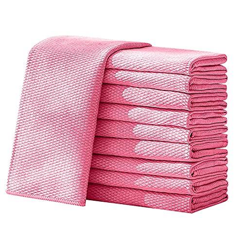 Shakary Toallitas de microfibra para limpieza de escamas, 10 unidades, 40 x 50 cm, absorbentes, color rosa