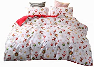 ADASMILE A & S Christmas Bedding Quilts Cover Set Decoration Deer Printed Queen Size Cartoon Santa Claus Bedding Set Kids ...