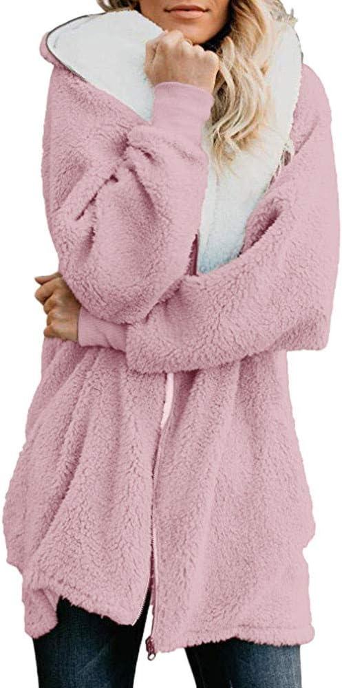 Women Plus Size Winter Coats Warm Shaggy Lining Solid Fluffy Hooded Coats Jackets Oversized Outerwear Parka