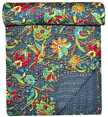 GANESHAM indio Kantha Boho Vintage Gudari Home Decor Hippie Hand Stich Manta de lujo Floral Bedsheet decorativo sofá Cover Kantha Quilts Bohemio hecho a mano ropa de cama (90 x 108) pulgadas
