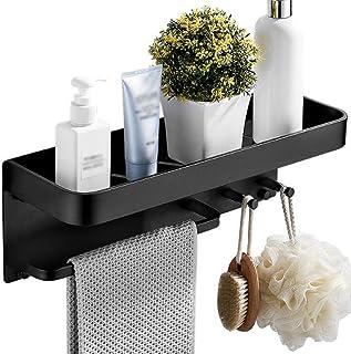 Toallero Barra, Toalleros baño, Toalla cuadrada estantería de baño Estante con la barra de toalla y la pared Riel de aluminio del espacio Mate Negro