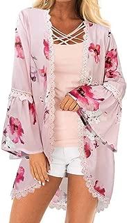 PINKMILLY Women's Floral Print Kimono Sheer Chiffon Loose Cardigan