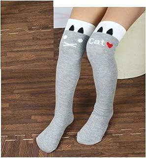 Bullidea Kids Girls Striped Cotton Socks Cute Funny Pattern Knee-High Socks Warmer Gray- One Size 1 Pair
