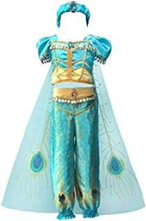 Girls 4pcs Princess Jasmine Dress Up Aladdin Halloween Costumes Party Outfit Cosplay with Cape Headband