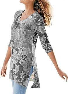 ROCMKL Polyester Women Plus Size Long Sleeve Rendering Print V-Neck Print Pullover Tops Shirt