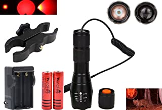 WINDFIRE Tactical Red LED Light Flashlight 300 Yards Zoom Focus Adjustable Torch Coyote Hog Fox Predator Varmint Hunting Lamp Sets with Pressure Switch, Scope Mount, 18650 Battery and Charger