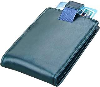 Men's Vintage Wallet Card Set Leather RFID Dollar Clips Vintage Wallet Multifunction Card Cases (Color : Blue, Size : S)