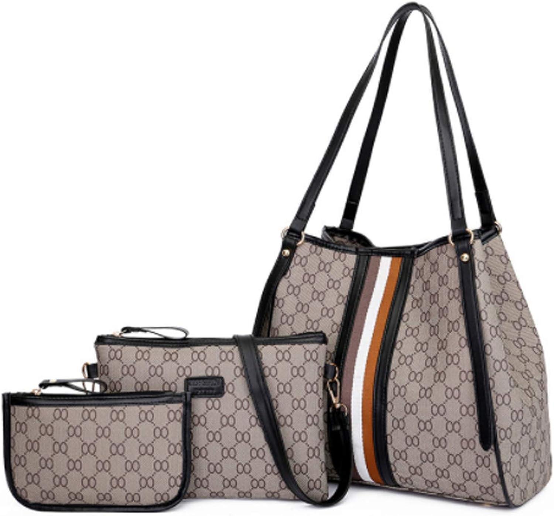 PU Große Handtasche Damen Set Set Set mit 6 Damen Schultertasche für Damen und Herren Europäische und amerikanische Mode prägten eine Schulter diagonale Handtasche mit großer Kapazität (Schwarz, 321728cm) B07MX8LTS1  In hohem Gra dc2e4e