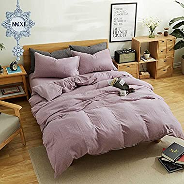 MKXI Simple Bedroom Collection 3 Pieces Purple King Size Duvet Cover Set,Cross Printed
