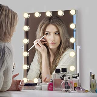AI-LIGHTING Hollywood Lighted Vanity Makeup Mirror Light, Makeup Dressing Table Mirrors with Dimmable LED Light, Table Top Vanity Mirror, 3X Magnification (21x18 inch)