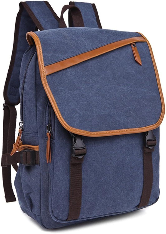 New Men Women Backpack Daypack Waterproof Vintage Zipper Canvas School Laptop Bags (color   Dark blueee)