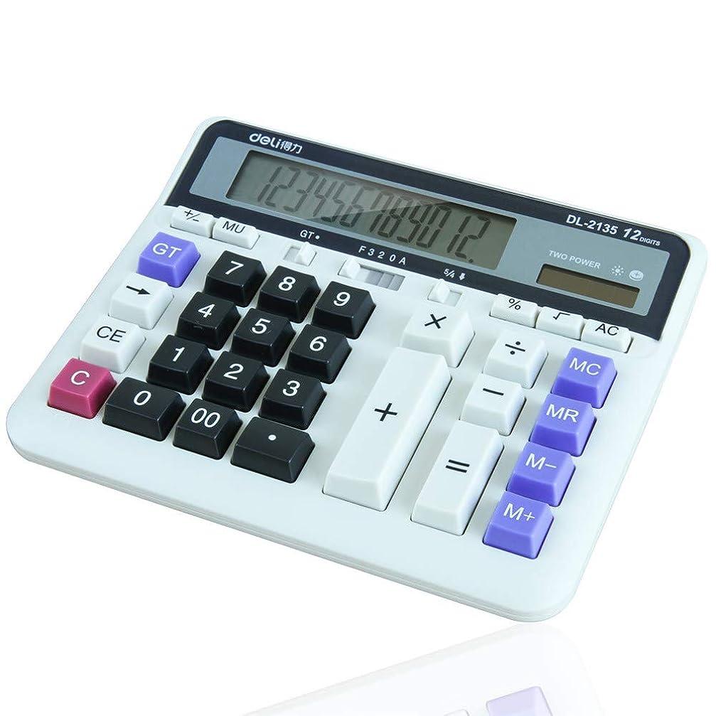 期限コンパクトバインドデスク電卓 コンピュータキーボード金融銀行専用コンピュータデュアルパワーソーラーデスクトップオフィス電卓 学校ホームオフィス用