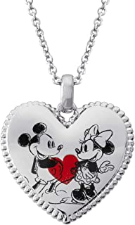 Classic Mickey and Minnie Mouse Heart Pendant Necklace, Mickey's 90th Anniversary