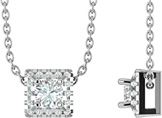 14K White Gold 1/4-3/4 Carat (H-I Color,SI2-I1 Clarity) Natural Diamond Square Halo Solitaire Pendant Necklace for Women with 18