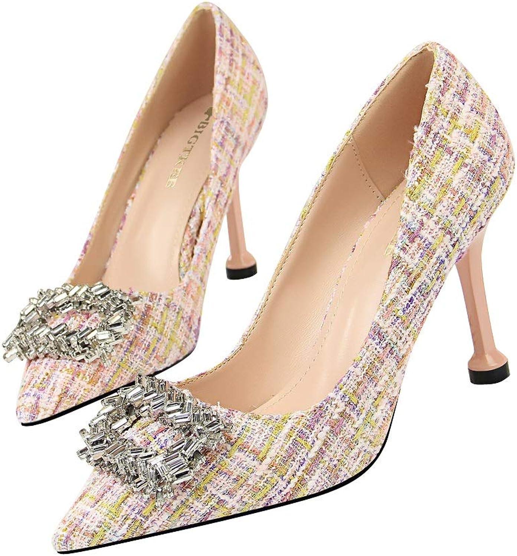 Women's Heels OverDose Fashion Heels shoes Mixed colors Shallow Wedding Dress shoes