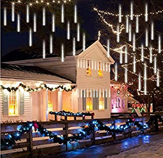 Anlising Falling Rain Lights, Meteor Shower Led Rain Lights 8 Tubes 136 LED(11.8 inch/Tube) Icicle Snow Falling Rain drop Lights for Wedding Party Holiday Christmas Home Garden Tree Decoration (White)