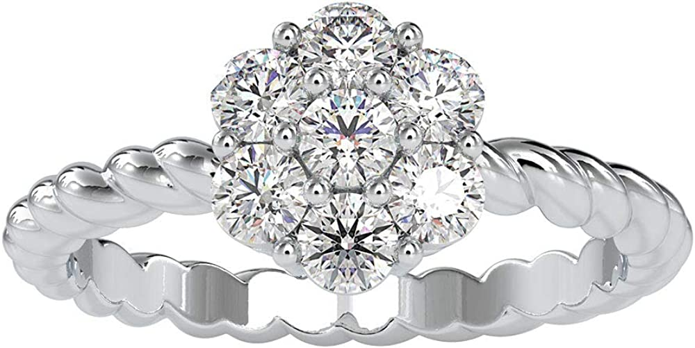 0.77Ct Certified Moissanite Cluster Wedding Ring, Unique Women Twist Shank Ring, DE-VS1 Color Clarity Gemstone Floral Ring, Statement Bridal Gold Ring
