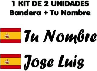 Vinilin Pegatina Vinilo Bandera Galicia + tu Nombre Bici, Casco, Pala De Padel, Monopatin, Coche, etc. Kit de Dos Vinilos (Negro)