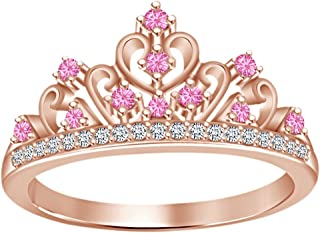Round Cut Simulated Multi Stone Princess Style Engagement Wedding Crown Ring in 14k Rose Gold Over Sterling Silver