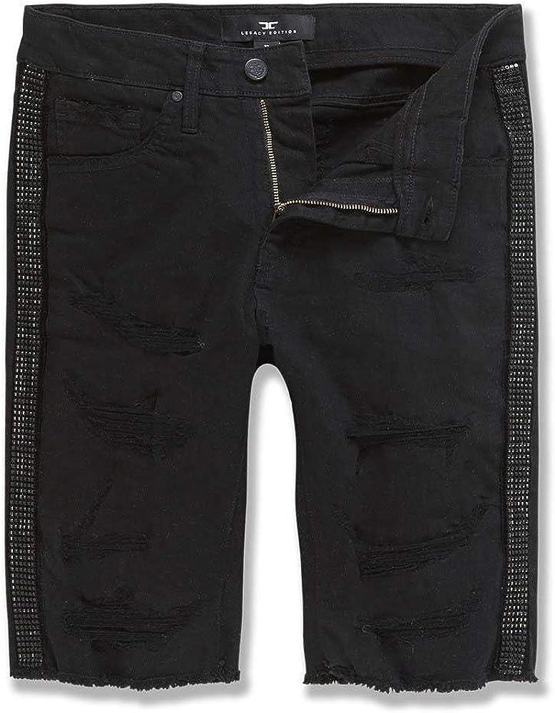 Jordan Craig Men Vegas Striped Denim Shorts (Triple Black)