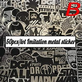 Sticker 50pcs/Bag Imitation Metal Game of Thrones Direwolf UFO DGK Logo for Suitcase Computer Scooter Waterproof DIY Decals (B)