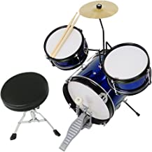 3pcs Junior Kid Child Drum Set Kit Sticks Throne Cymbal Bass Snare Boy Girl Blue