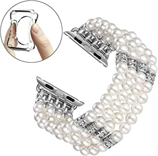 fastgo Compatible for Apple Watch Band 38mm 40mm, Fashion Handmade Elastic Stretch Faux Pearl Bracelet Replacement Women for Iwatch Series 5/4/3/2/1 (White-38/40mm)