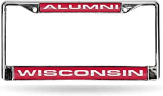 Rico Industries NCAA Wisconsin Badgers Laser Cut Inlaid Standard License Plate Frame, Chrome, 6