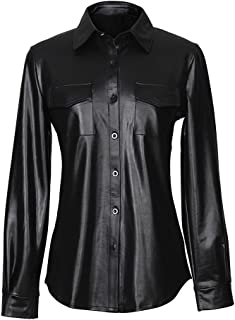 Mxssi PU Monopetto in Pelle Nera Camicia da Donna a Maniche Lunghe in Ecopelle Top Casual da Donna Camicette da Ufficio