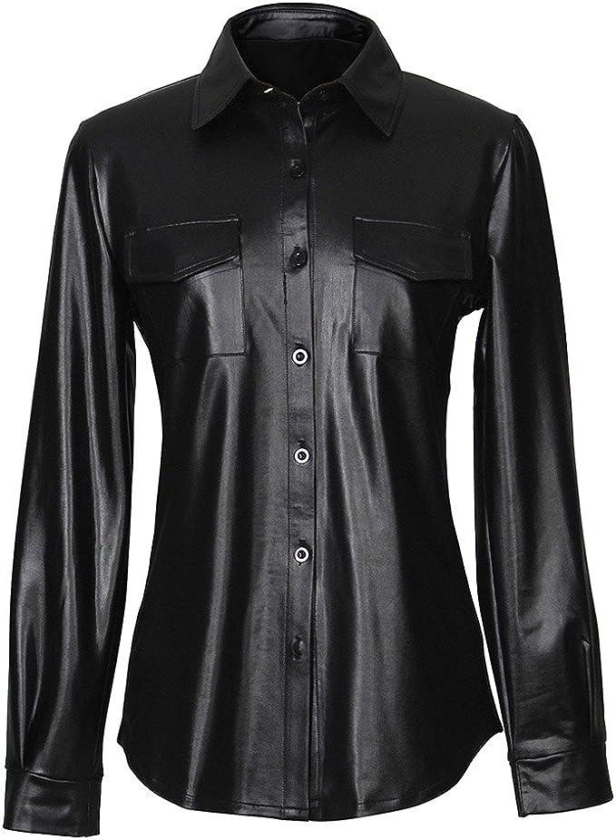 Mxssi Camisa de Cuero Negro PU Camisa de Cuero Negro de Manga Larga para Mujeres Blusas de Oficina para Damas Ocasionales