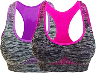 DAMEN Fitness Yoga Gepolsterte BH 5-Farben Nahtlos Push Up Sport-BH Bustier H//J