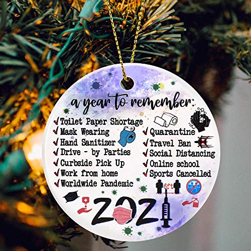 2020 Christmas Ornament Year of Quarantine Two-Side Printed Christmas Tree Decor 2020 Ornaments Gifts for Home Decor Christmas Decorations Circle Ceramic