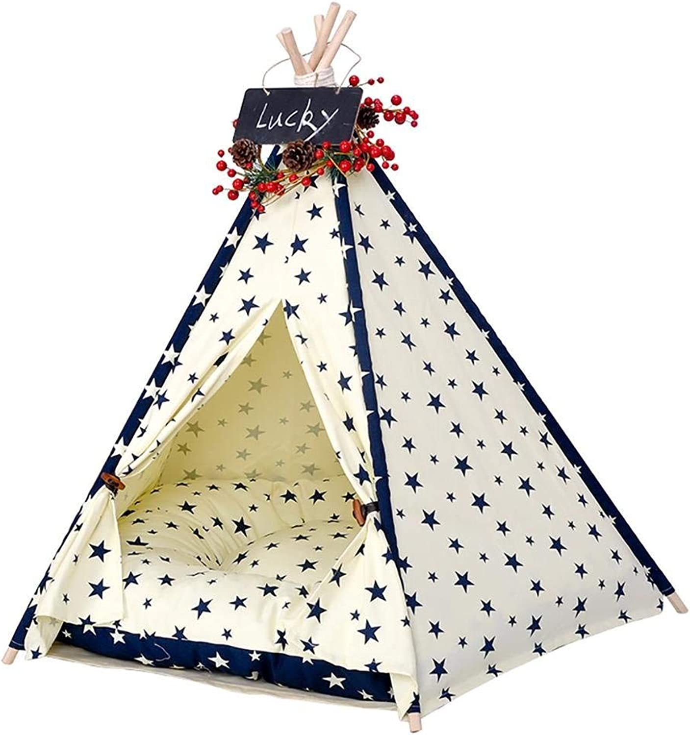 HEI SHOP Pet Teepee Dog(Puppy) & Cat Bed  Portable Pet Tents & Houses for Dog(Puppy) & Cat with cushion